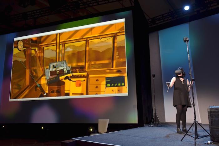 VR 환경에서 VR게임 콘텐츠를 개발하는 장면