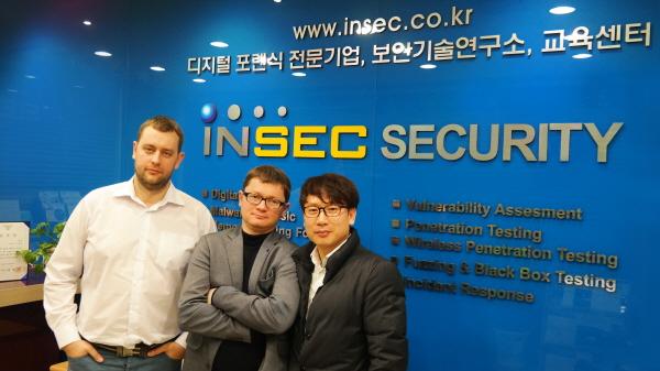루솔루트는 인섹시큐리티와 손잡고 한국에서 메모리칩 기반 데이터 복구·디지털 포렌식 분석 솔루션 사업을 본격화한다. 사진은 사샤 쉐레메토브 루솔루트 CTO와 알렉스 데르쿤스키 CEO, 김종광 인섹시큐리티 대표(왼쪽부터).