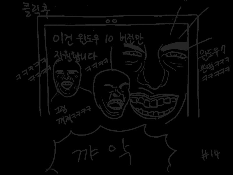 윈도우7 지원 종료돼서 그만 써야 하는 개복치.manhwa